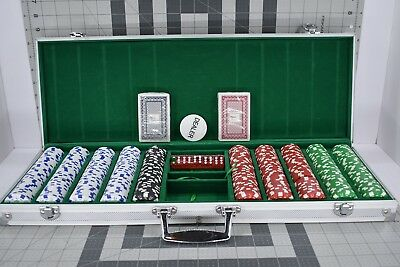 Poker Stars 500pcs Chip Set w/ Dice and 2 Decks of Cards in Aluminum Case **USED