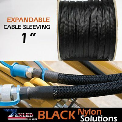 "1"" Expandable Braided Sleeving Electrical Cables Wire Wrap Protective Soft 20ft"