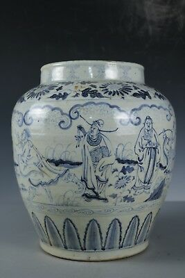 SS Chinese Beautiful Blue and white Porcelain character Pot
