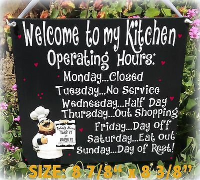 Fat Chef Italian Sign Welcome Operating Hours Kitchen Bistro Cucina Wall  Decor