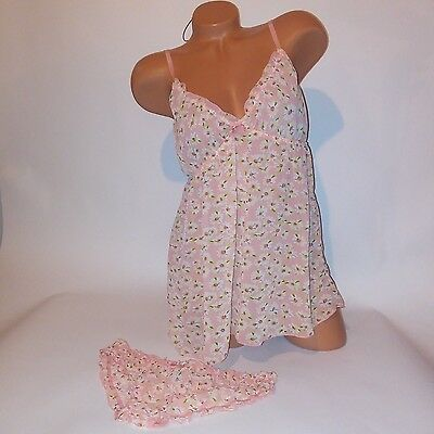 Forever 21 Lingerie Camisole Set Babydoll Sleepwear Sheer Floral Daisy NEW