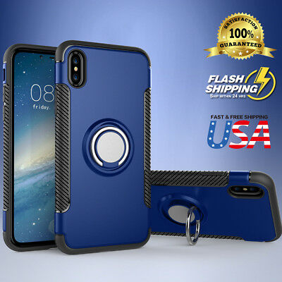 360° Ring Holder Hybrid Shockproof Rugged Slim Ultra-thin Case Cover Fits iPhone
