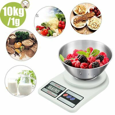 10kg/1g Digital LCD Electronic Kitchen Scale Food Weighing Postal Scales White