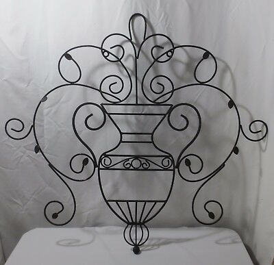 Vtg Large Decorative Vintage Scroll Wrought Iron Metal Wall Grille Art  Decor