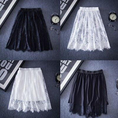 Sweet Tutu Skirt Princess Women Petticoat Lace Floral Tulle Layered Dress Skirts