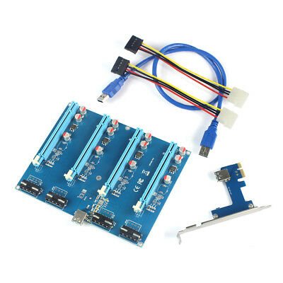 PCI-E Adapter Card 1 to 4 1X to 16X Riser Mining Card Connector for PC Computer