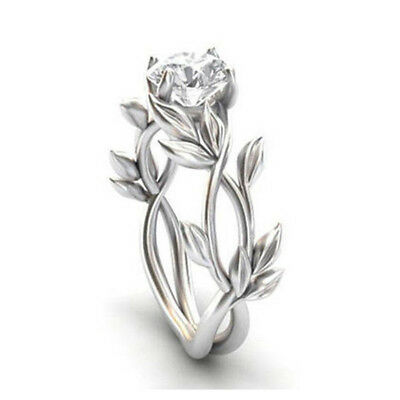 925 Sterling Silver White Topaz Flower Leaves Rings Wedding Bridal Ring Jewelry