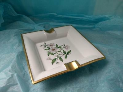 Limoges Dubarry Ashtray with white orchid flower design 1950s