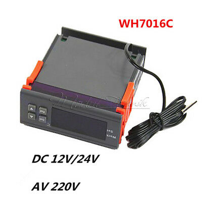 DC12/24V AC220V Digital Temperature Controller Thermostat WH7016C LCD Display MT