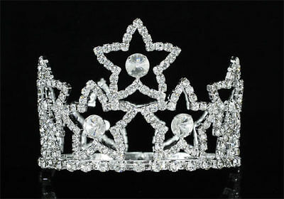 Baby Crystal Full Circle Round Star Mini Crown Tiara CT1762 Flower Girl