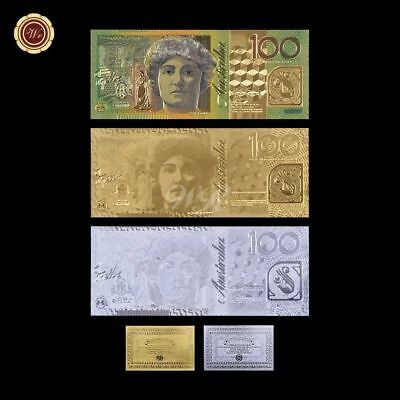 WR 999 24K Gold Silver Colored Banknote Australian $100 Polymer Bank Note /w COA