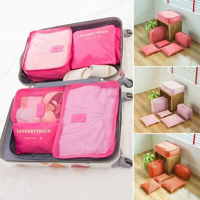 6Pcs Clothes Pouch Packing Cube Storage Travel Luggage Suitcase Organizer Bags
