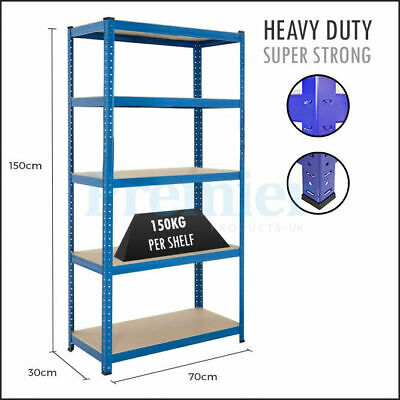 5 Tier Industrial Metal Racking Shelving Garage Warehouse Storage Boltless Shelf