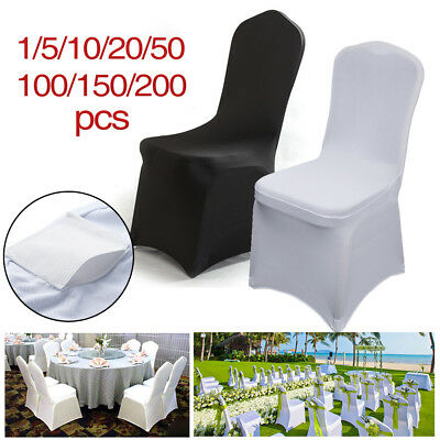 Black / White Chair Covers Full Seat Cover Spandex Lycra Stretch Banquet Wedding