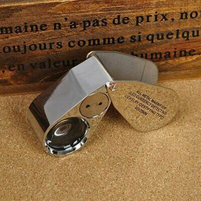 Jewellers Eye Jewelry Lens Glass Loupe 40x-25 Magnifier Magnifying LED Light