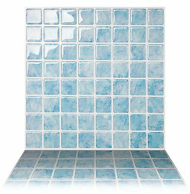 Tic Tac Tiles®_ Premium 3D Peel & Stick Wall Tile in Vetro Aqua (5 sheets)