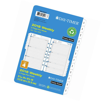 Day-Timer Refill 2018, Two Page Per Week, January 2018 - December 2018 Desk Size