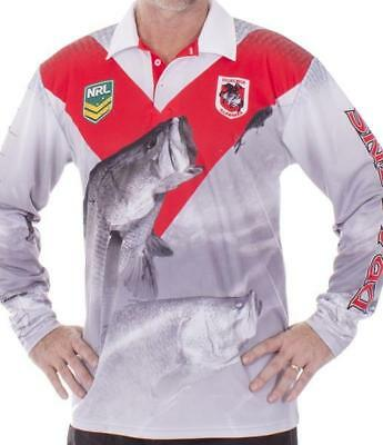 St George Illawarra Dragons NRL Fishing Polo Shirt Long Sleeve BNWT Rugby League