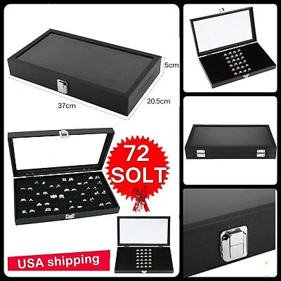 72 SLOT Ring Display Case Organizer Glass Top Jewelry Storage Box Tray Holder OY