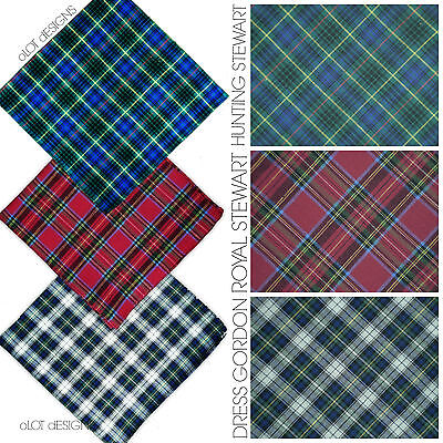"Large 16"" 40Cm Tartan Handkerchiefs 100% Pure Cotton  Men Ladies Hem Hankies Sco"