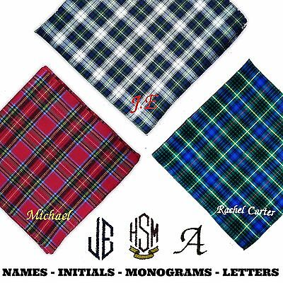 100% Cotton Embroidered Personalised Handkerchief Tartan Scottish Any Name Scot
