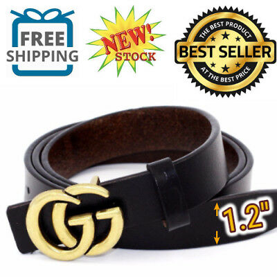 """GGenuine Leather Thin Belts Fashion Womens Gucci Logo Pattern For Jeans 1.2"""" NEW"""