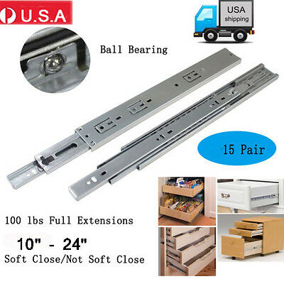 """15Pairs 10-24""""Full Extension Drawer Slides/Glides Side Heavy Duty Ball Bearing Y"""