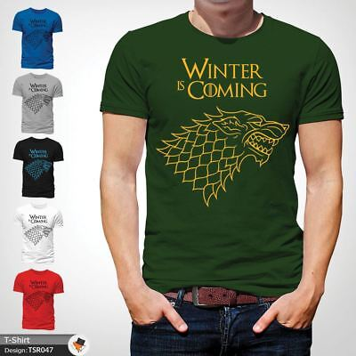 WINTER IS COMING SLOGAN GAME OF THRONES T-SHIRT HOUSE OF STARK LOGO XMAS Green