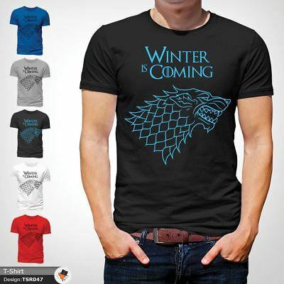 WINTER IS COMING SLOGAN GAME OF THRONES T-SHIRT HOUSE OF STARK LOGO XMAS Black