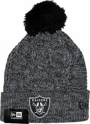 New Era Oakland Raiders Grey Knitted Bobble Hat Beanie NFL American Football Fan
