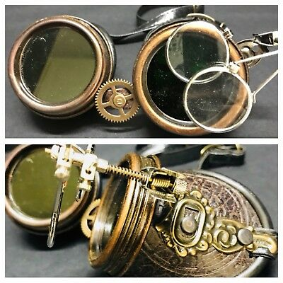 SDL Steampunk Cosplay Silver Loupy Goggles With Brown Leatheret