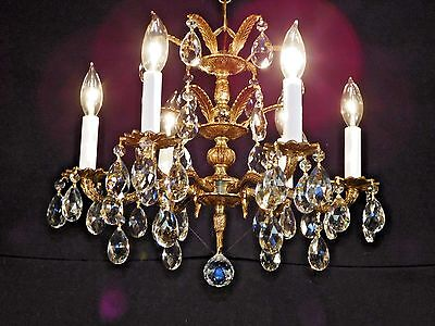 Antique French Double Headress Brass 6 Arm 6 Lite Cut Lead Crystal Chandelier