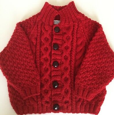 Hand Knittd Aran Design Jacket - Red - To Fit Baby 6-12 Months