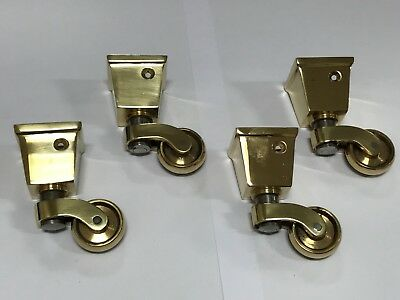 Solid Brass Square Tapered Socket Castors Set of 4 - (in Style 929)