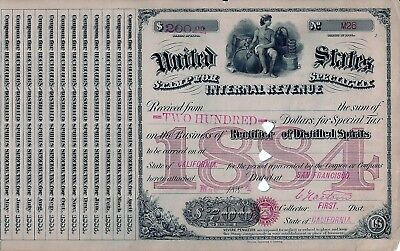 UNITED STATES STAMP FOR SPECIAL TAX Rectifier of Destilled Spirits, 1884 (200$)
