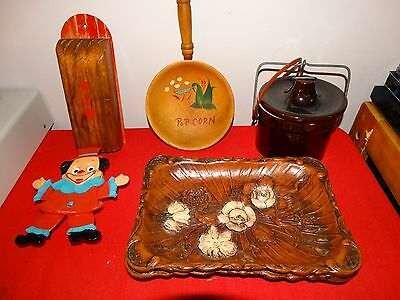 Lot Of 6 Vintage Collectible Items, Trays, Bean Pot, Wall Decor, Knife Holder