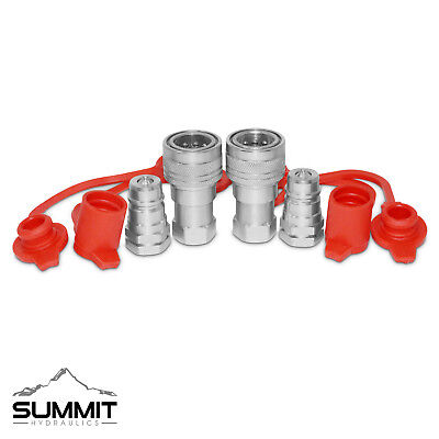"""2 Sets of 3/8"""" NPT Ag Hydraulic Quick Connect Pioneer Style Couplers"""