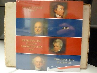 US Mint 2008 Presidential  $1 Coin Uncirculated Set 8 Presidential $1 Sealed