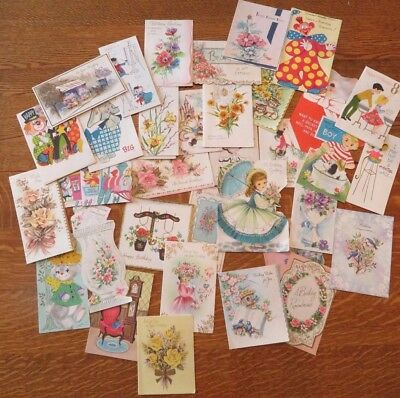 Lot of 34 Vintage Birthday Greeting Cards Mid Century 1950's 1960's