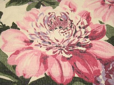 Vtg Mcm Mid Century Bold Pink Purple Rose Large Scale Floral Barkcloth Fabric