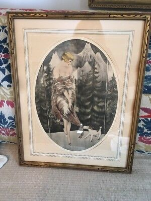 Antique Art Deco Icart Style Lady And Dog Etching Hand Colored Picture Signed