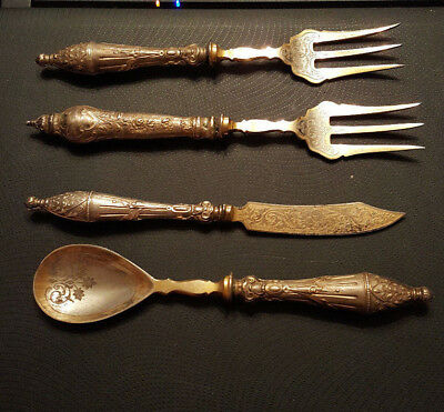 Large Ornate Antique Early? Victorian EPNS Silver and Gilt Cutlery
