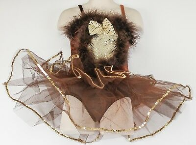 Curtain Call Brown leotard with Tutu feather boa Girls Size CXS Gold trim