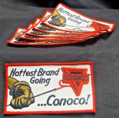 Vintage 1950s 60s NOS Conoco Hottest Brand Gas Oil Advertising Patches PRISTINE