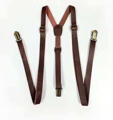 Punk Skinny Brown Leather Vintage SUSPENDERS SUPER NARROW 1/2 ""