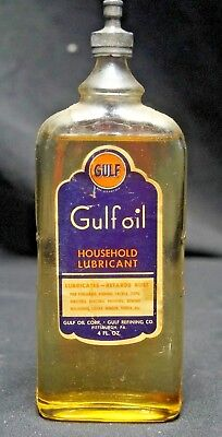 1920s 30s Lead Top Gulf Gas Oil Advertising Handy Oiler Oil Can Glass Bottle NOS