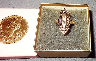 Vintage 1976 Avon Gold Tone Kensington Ring In Box Victorian Revival Adjustable
