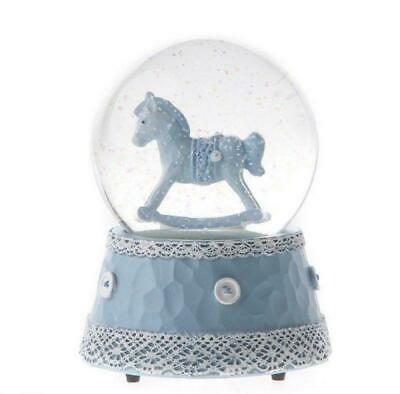 Rocking Horse Musical Waterball Snowglobe (Blue) Christening Birth Glitter Baby