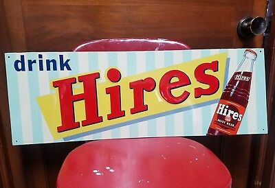 1950's Hires Root Beer Sign. 27.5inx9.5in. Near Mint!