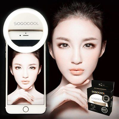 Selfie Ring Fill Light 36 LED Clip for iPhone 7 Plus 6 6S Android Phones White